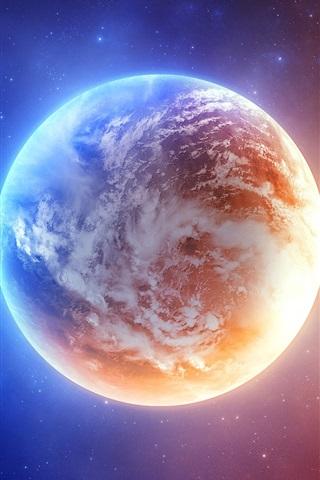 iPhone 배경 화면 지구의 블루와 오렌지 빛