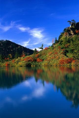 iPhone 배경 화면 푸른 하늘 푸른 물 푸른 언덕