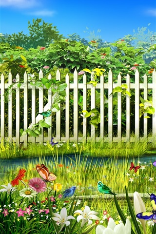 iPhone 배경 화면 녹색 스프링 가든 꽃