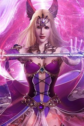 iPhone Wallpaper Hand-held wand purple girl