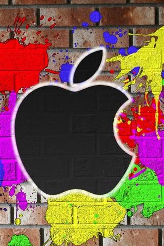 iPhone 배경 화면 애플 색상의 벽면에 그려진