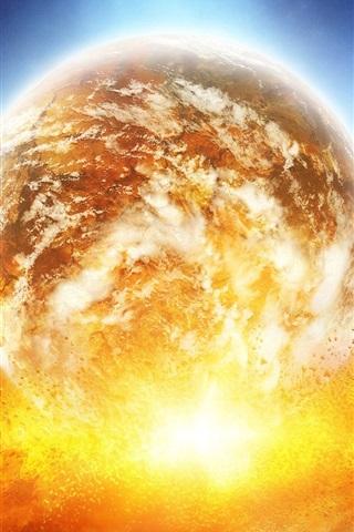 iPhone 배경 화면 행성 충돌