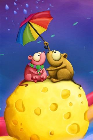 iPhone 배경 화면 케이크에있는 두 개의 작은 생쥐의 우산