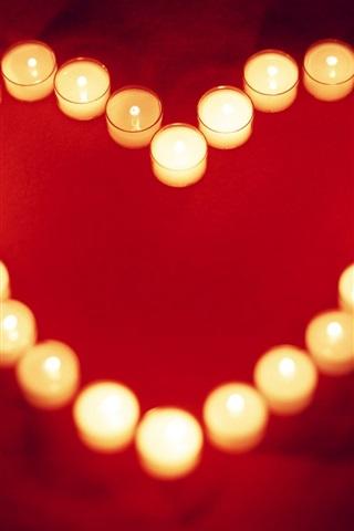 iPhone Papéis de Parede Calorosa e amorosa vela em forma de coração
