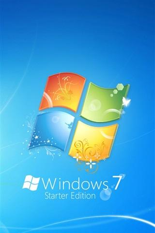 iPhone Papéis de Parede Windows7 tema logo fundo azul