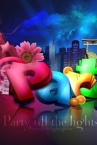 iPhone Wallpaper 3D colorful party