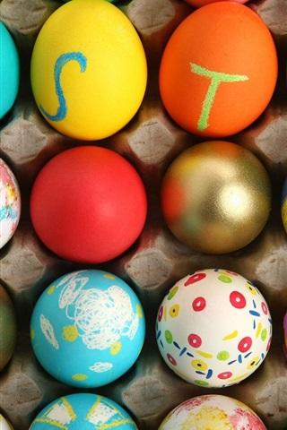 iPhone 배경 화면 다채로운 부활절 달걀