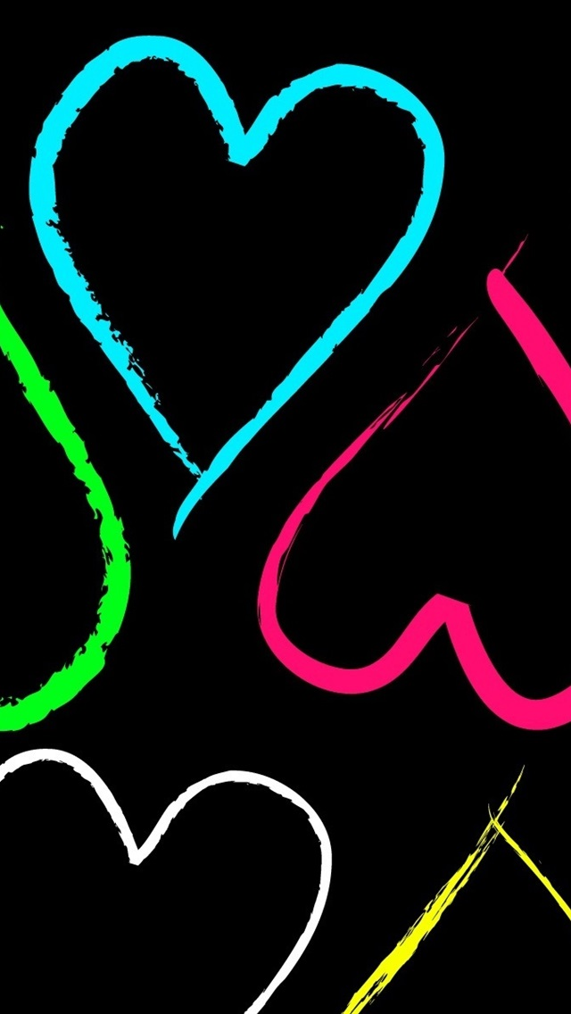 Colorful Heart Shaped Love 640x1136 Iphone 5 5s 5c Se