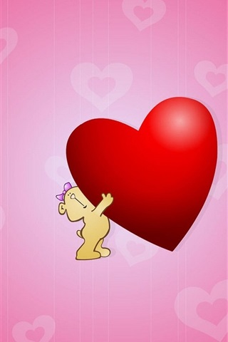 iPhone Wallpaper Cute Hug Love Heart