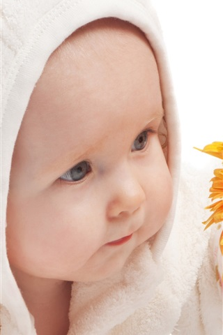 iPhone Papéis de Parede Cute bebê pegar a flor