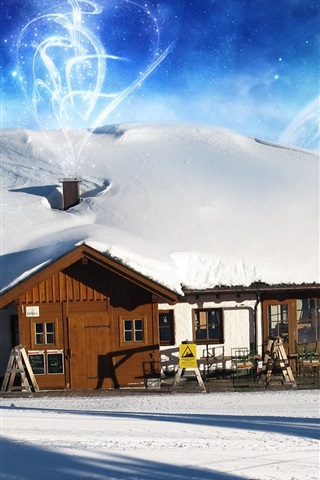 iPhone 배경 화면 뜨거운 공기 풍선과 겨울에 집
