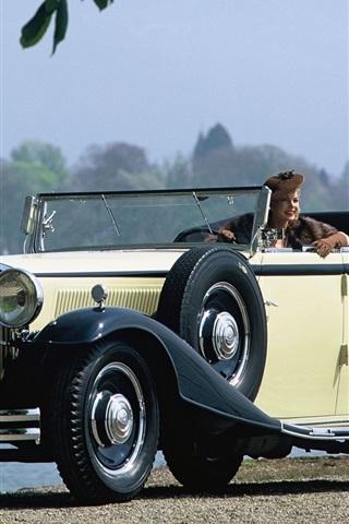 iPhone 배경 화면 Maybach 레드 DS8 4 - 도어 쿠페형 자동차 1930