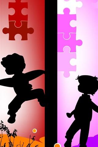 iPhone Papéis de Parede Vetor da silhueta das crianças