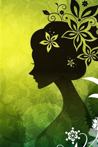 iPhone 배경 화면 벡터의 여성 녹색 꽃