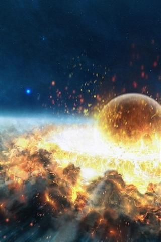 iPhone 배경 화면 소행성 충돌 폭발