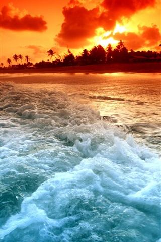 iPhone 배경 화면 비치 일몰과 해변 파도