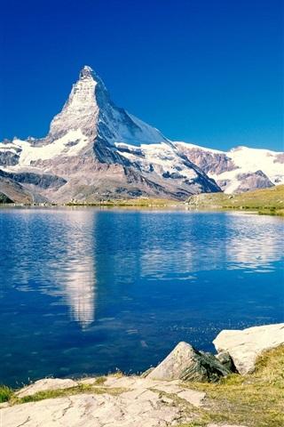 iPhone 배경 화면 블루 호수와 산의 경치