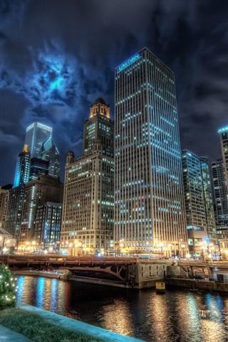 iPhone Wallpaper Chicago city night lights