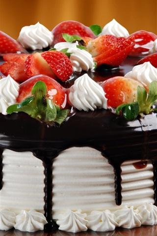 iPhone 배경 화면 초콜릿 크림 케이크