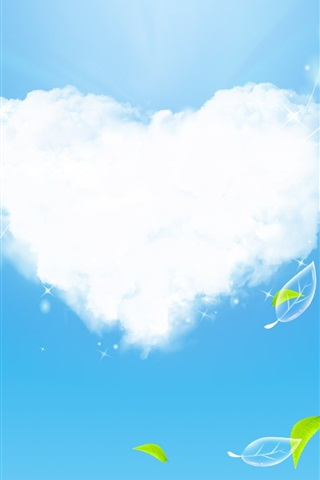 iPhone 배경 화면 사랑의 구름과 푸른 잎