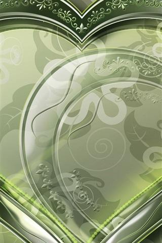 iPhone 배경 화면 크리스탈 녹색 마음 사랑