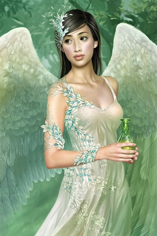 Green wings angel girl 640x1136 iPhone 5/5S/5C/SE wallpaper, background, picture, image