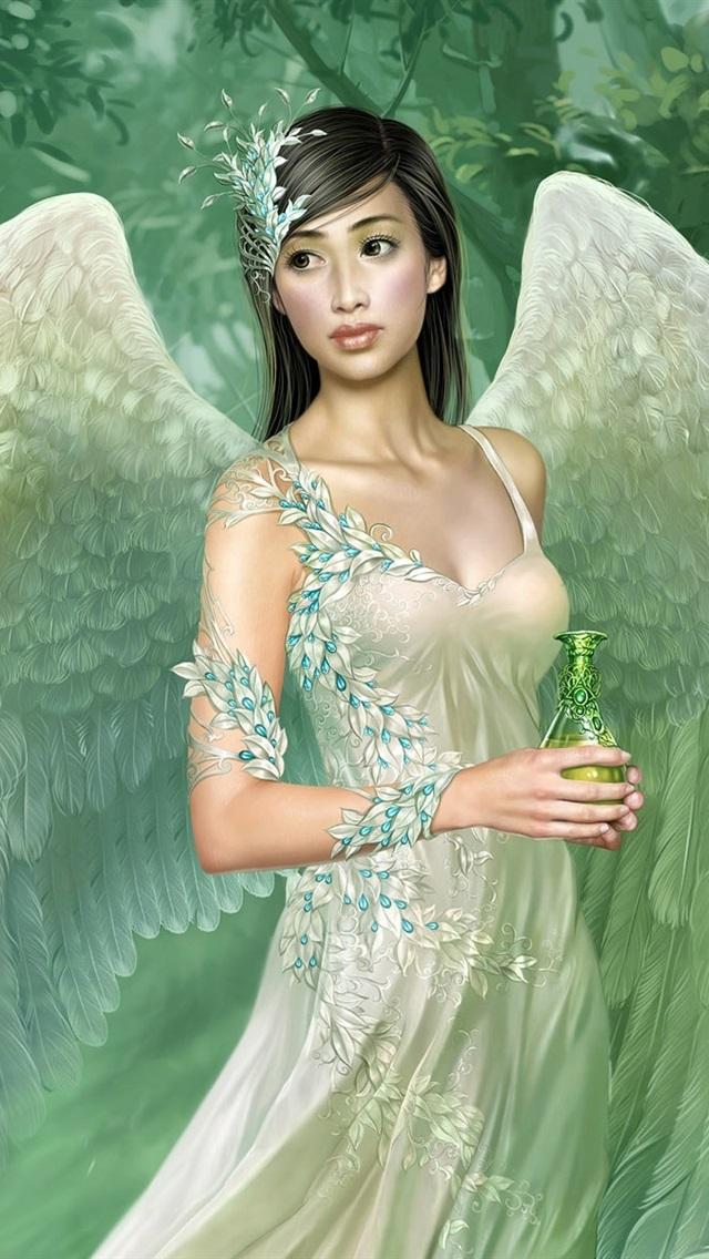 Wallpaper green wings angel girl 1920x1200 hd picture image - Angel girl wallpaper ...