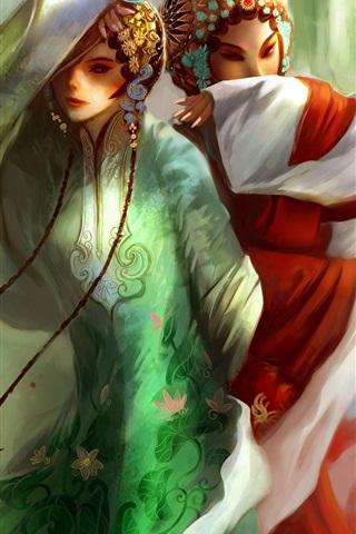 iPhone 배경 화면 수공 아름다운 북경 오페라 소녀