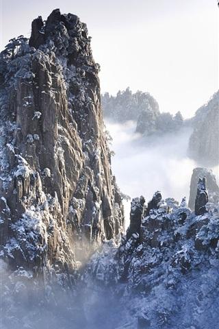iPhone 배경 화면 안휘, 중국에서 겨울에 황산 산맥