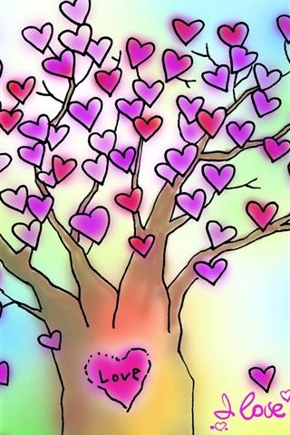 iPhone 배경 화면 나는 당신은 심장 나무 사랑 사랑