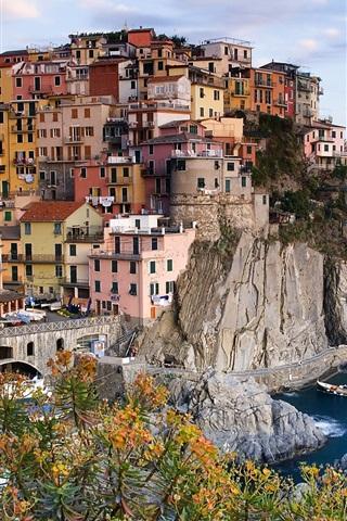 iPhone 배경 화면 라 스페 치아, 친퀘테레 (Cinque Terre), Manarola