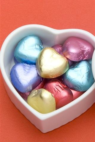 iPhone 배경 화면 하트 모양의 초콜릿 사랑
