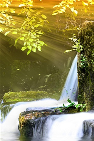 iPhone Wallpaper Small waterfall and sunlight