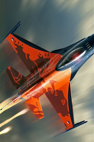 iPhone Wallpaper F-16 fighter flying cloud