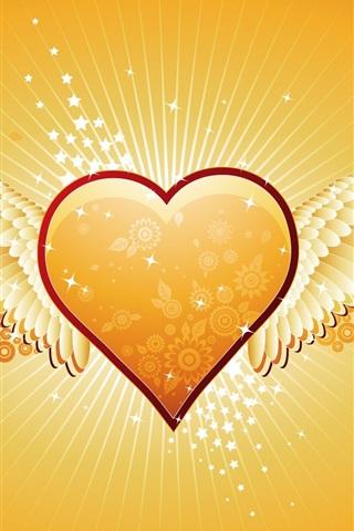 iPhone 배경 화면 사랑의 오렌지 하트 모양의 날개