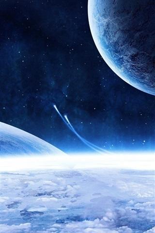 iPhone 배경 화면 우주선과 파란 행성