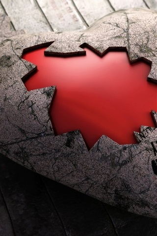 iPhone Wallpaper Broken stone heart