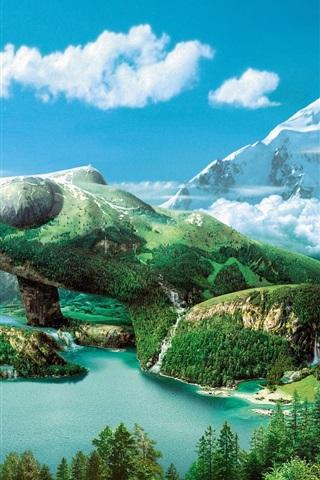 iPhone Wallpaper Dreamy sky mountain green