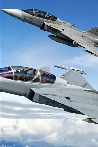 iPhone 배경 화면 ETPS gripen 전투기 비행