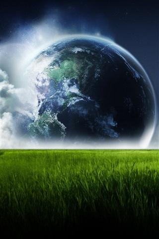 iPhone 배경 화면 녹색 초원의 하늘 지구