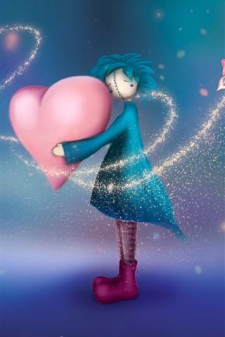 iPhone Wallpaper Little girl holding love