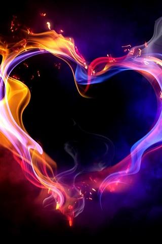 iPhone Wallpaper Love heart multi colored smoke fire