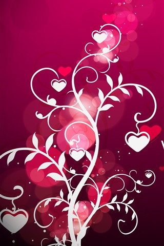 iPhone Wallpaper Vector Valentine's Day hearts