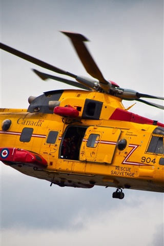 iPhone Wallpaper Yellow helicopter rescue flight Canada