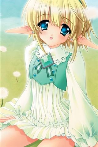 iPhone Wallpaper Blonde anime girl on grass