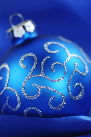 iPhone Wallpaper Blue Christmas ball blue background