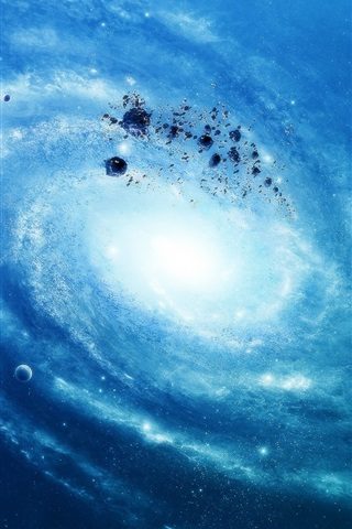 iPhone Wallpaper Blue galaxy stars