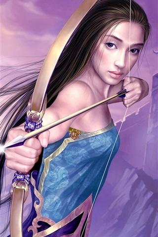 iPhone 배경 화면 양궁의 블루 소녀