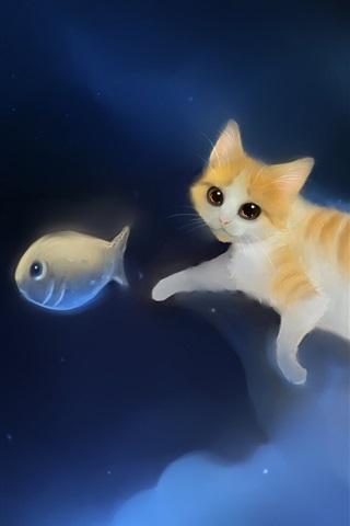 iPhone 배경 화면 그림의 하늘에 고양이 쫓는 물고기