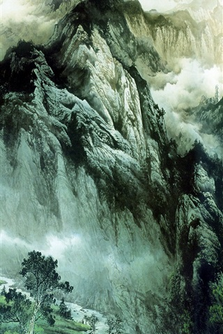 iPhone 배경 화면 중국어 잉크 그림 산과 강